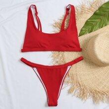 Rib Thong Bikini Swimsuit