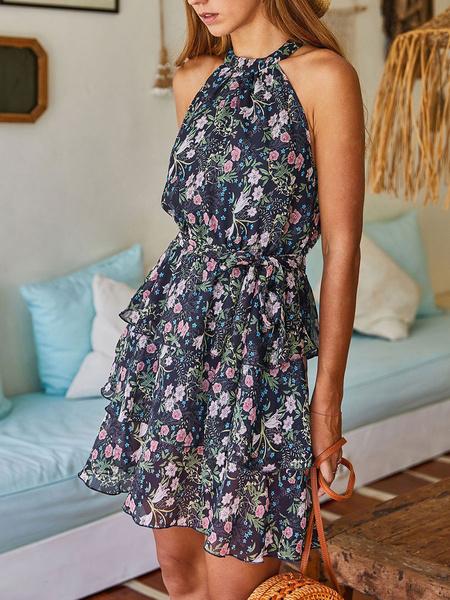 Milanoo Vestido de verano Vestido de playa con gradas sin mangas estampado