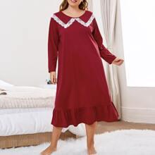 Plus Lace Panel Ruffle Hem Night Dress