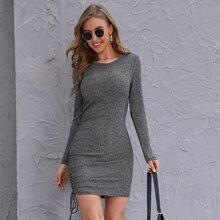 Drawstring Side Rib-knit Bodycon Dress