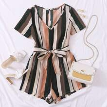 Keyhole Back Self Belt Striped Romper