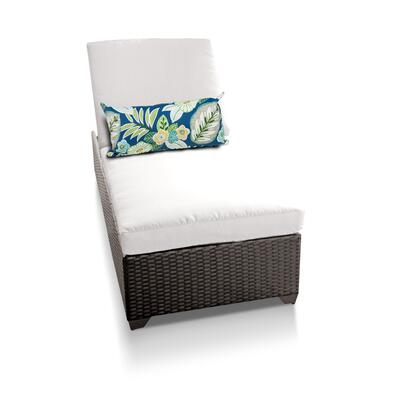 Barbados BARBADOS-1x-WHITE Outdoor Wicker Patio Chaise - Wheat and Sail White
