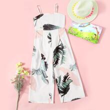 Girls Shirred Back Plants Print Jumpsuit