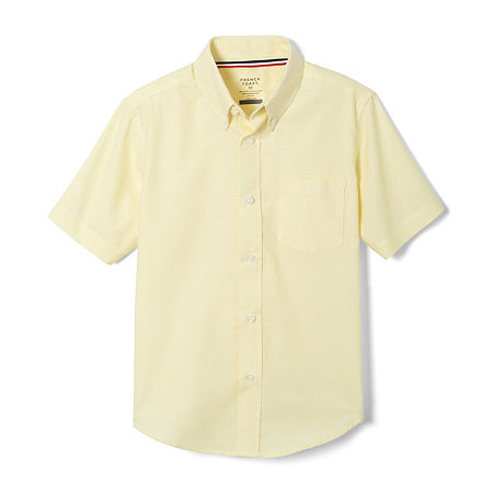 French Toast Little & Big Boys Point Collar Short Sleeve Wrinkle Resistant Dress Shirt, 14 Husky , Yellow
