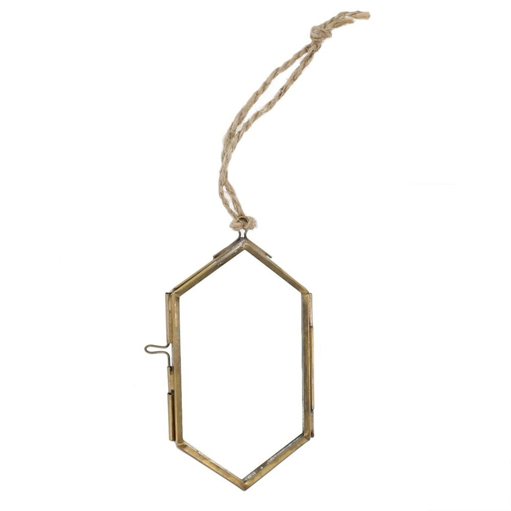 Metal and Glass Hexagonal Frame, Medium, Brass and Clear (Brown)