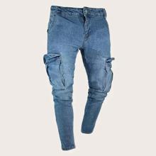 Maenner Schmale Jeans mit Tasche auf den Seiten