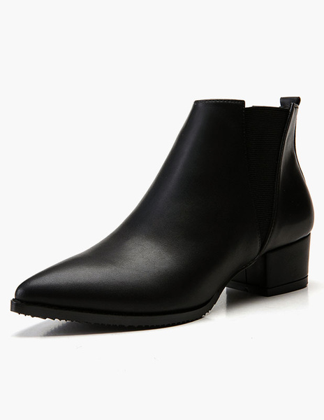 Milanoo Women Chelsea Boots Black Ankle Boots Black Pointed Toe Chunky Heel Booties