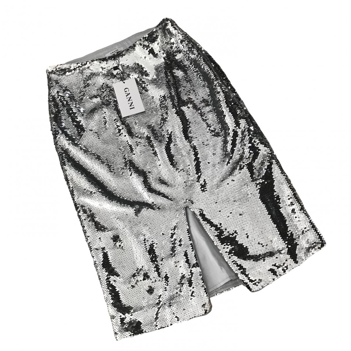 Ganni Spring Summer 2020 Silver Glitter skirt for Women 34 FR