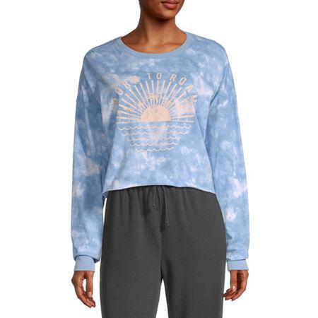 Flirtitude Juniors-Womens Crew Neck Long Sleeve T-Shirt, Large , Blue