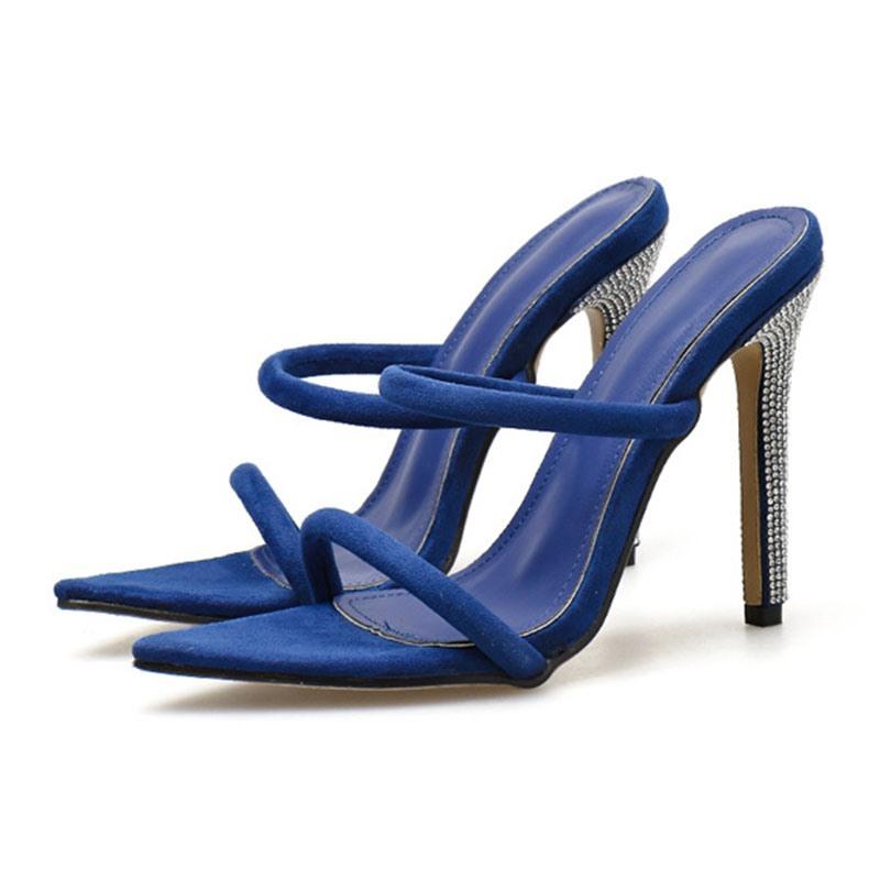 Ericdress Slip-On Stiletto Heel Rhinestone Rubber Slippers