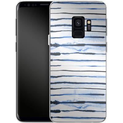 Samsung Galaxy S9 Silikon Handyhuelle - Electric Lines White von Ninola Design