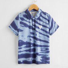 Polo Shirt mit Batik und Flicken Detail