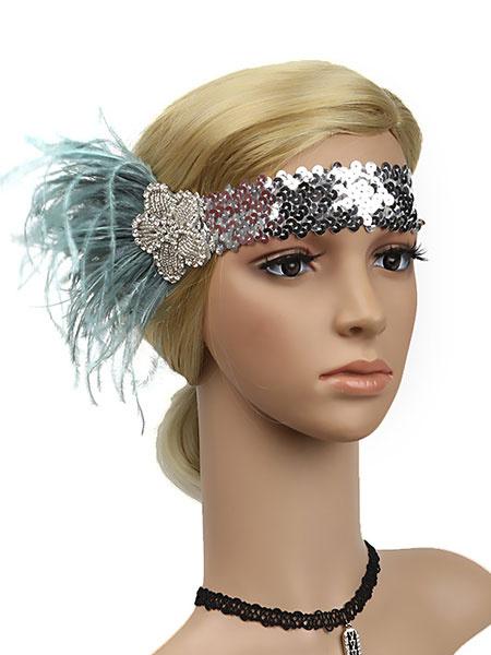 Milanoo Flapper Headband Sequins 1920s Great Gatsby Feather Rhinestone Women Headband Retro Hair Accessories Halloween
