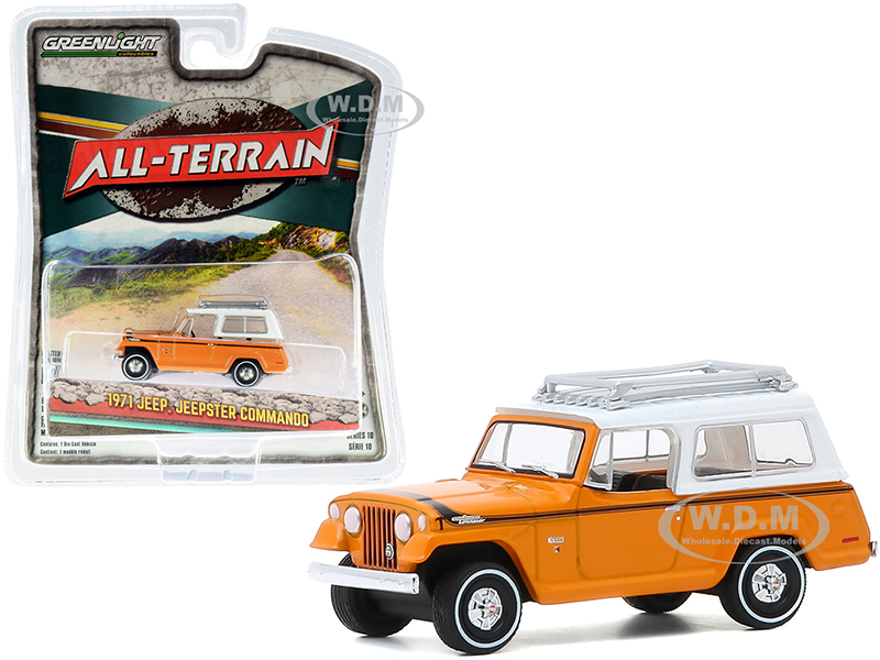 1971 Jeep Jeepster Commando with Roof Rack Orange with White Top