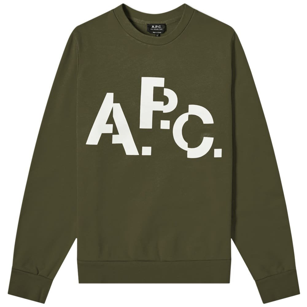 A.P.C Decale Logo Print Sweatshirt Colour: KHAKI, Size: EXTRA LARGE