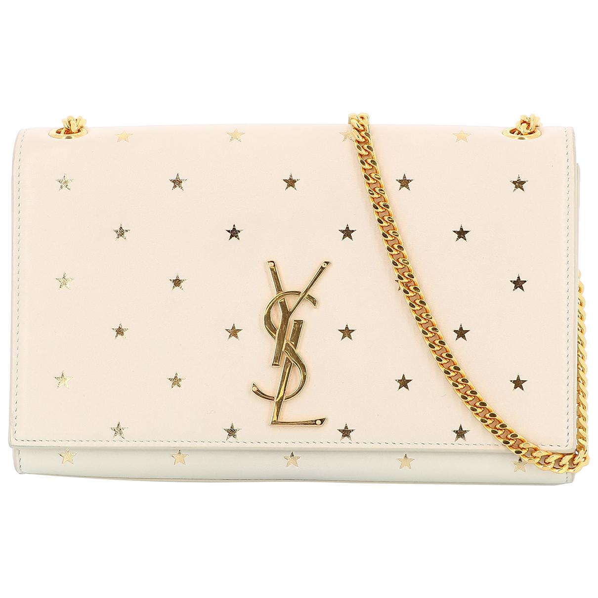 Saint Laurent Kate monogramme Handtasche in  Weiss Leder