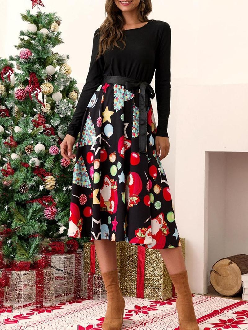Ericdress Christmas Decorations Round Neck Long Sleeve Patchwork Regular Sweet Dress