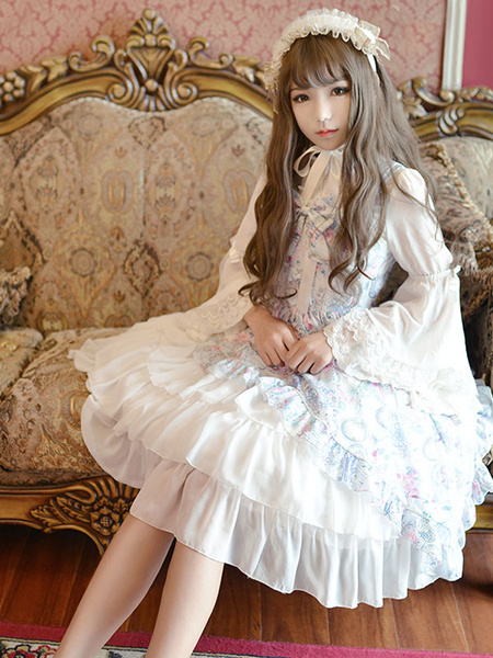 Milanoo Classic Lolita Dress JSK Antique Clock Printed Chiffon Ruffled Bow Layered Lolita Jumper Skirt Original Design