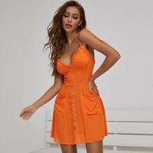 Neon Orange Cami Kleid mit Falten