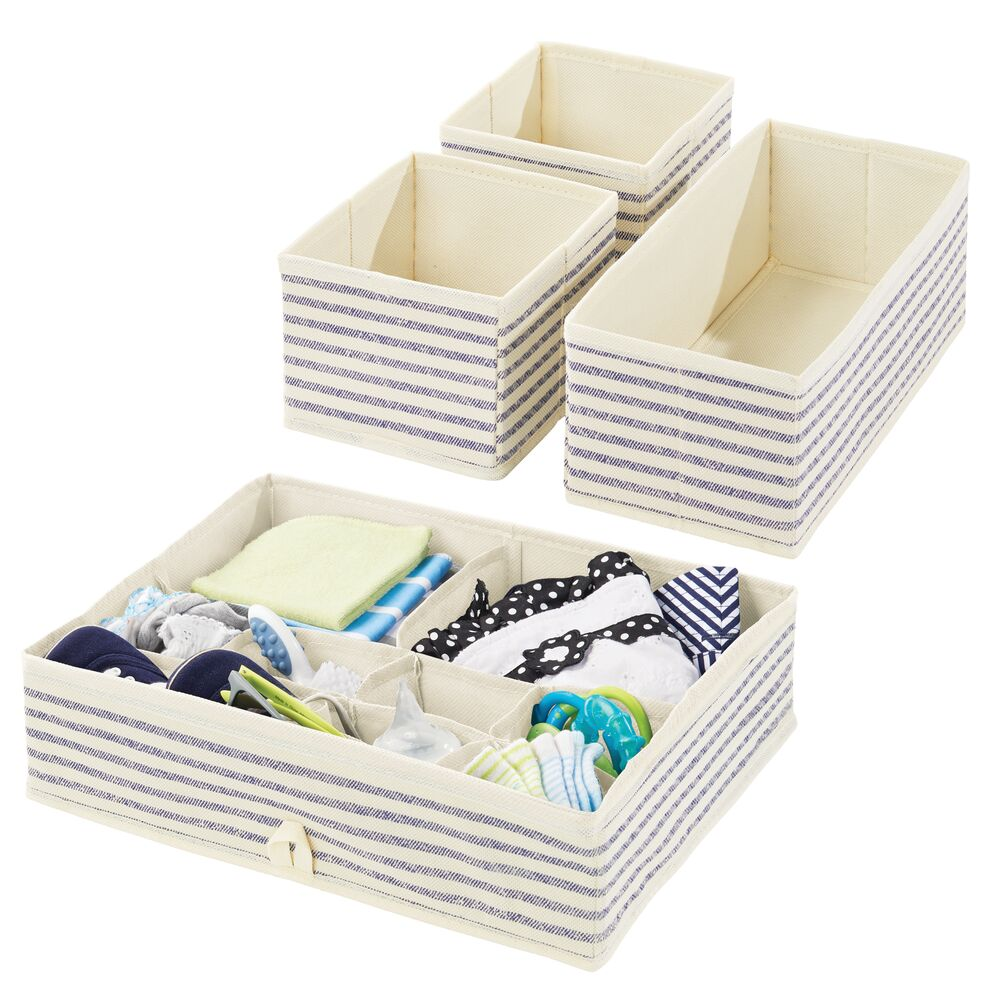 Baby + Kids Fabric Dresser Drawer Storage Organizer in Natural/Cobalt Blue Stripe, Set of 4, by mDesign