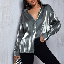Button Front Drop Shoulder Metallic Top