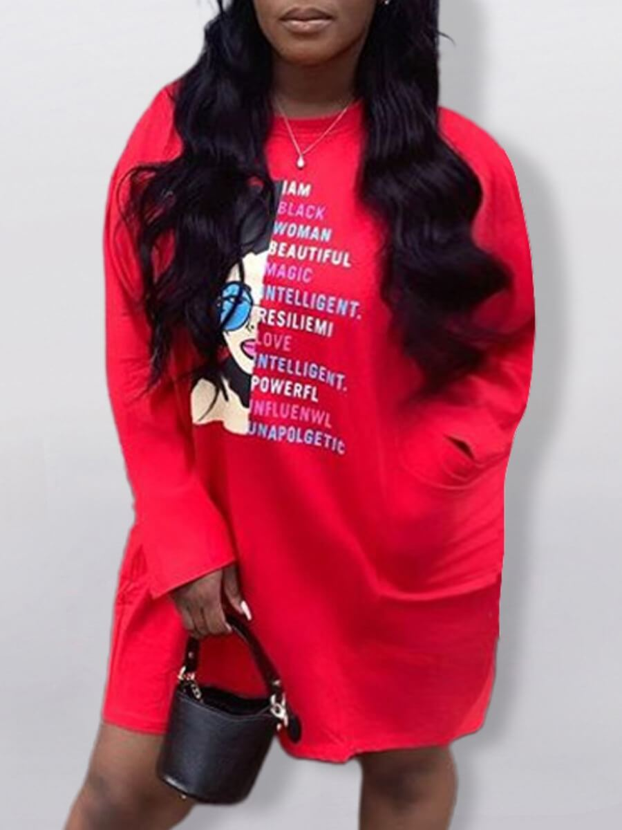 LW Lovely Casual O Neck Letter Print Red Knee Length T-shirt Dress
