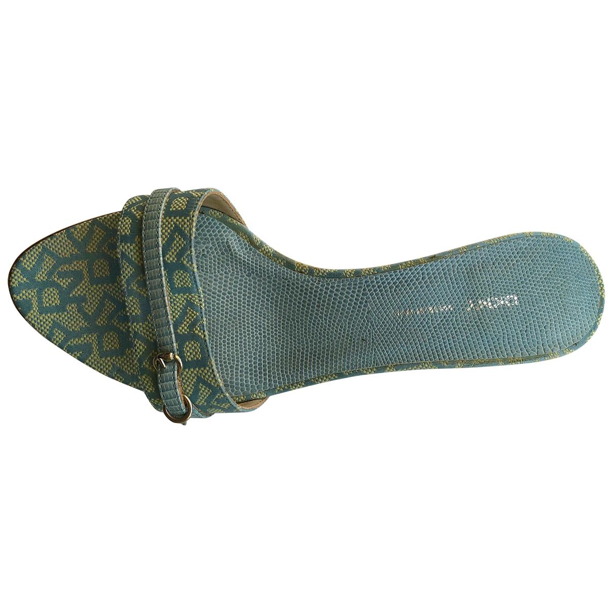 Dkny - Sandales   pour femme en toile - turquoise