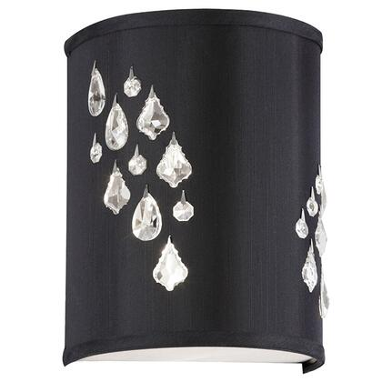 RHI-8L-2W-694 2 Light Wall Sconce With Crystal Accents Left Hand Facing  Polished Chrome  Black Baroness