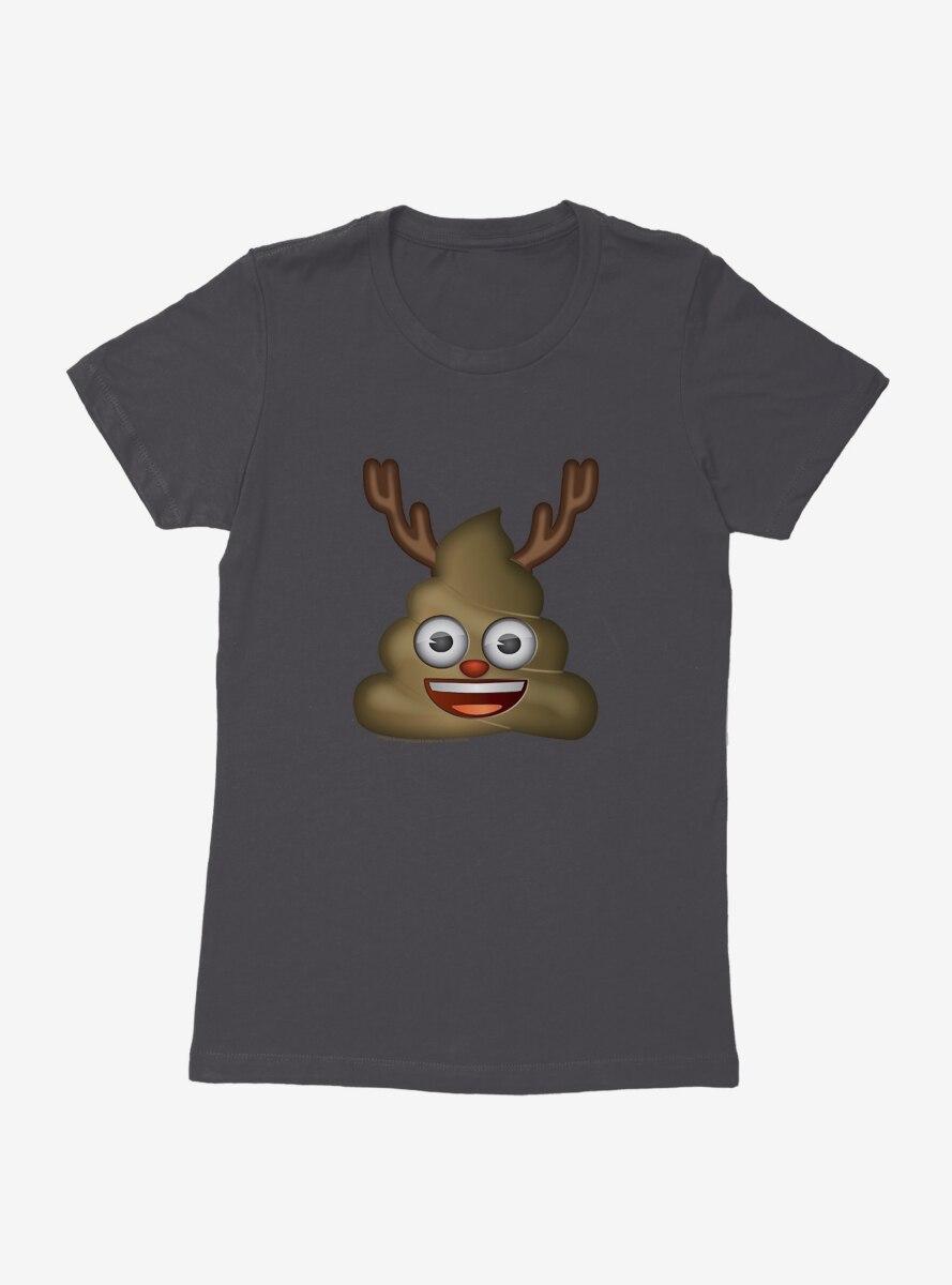 Emoji Holiday Icons Poop Reindeer Womens T-Shirt
