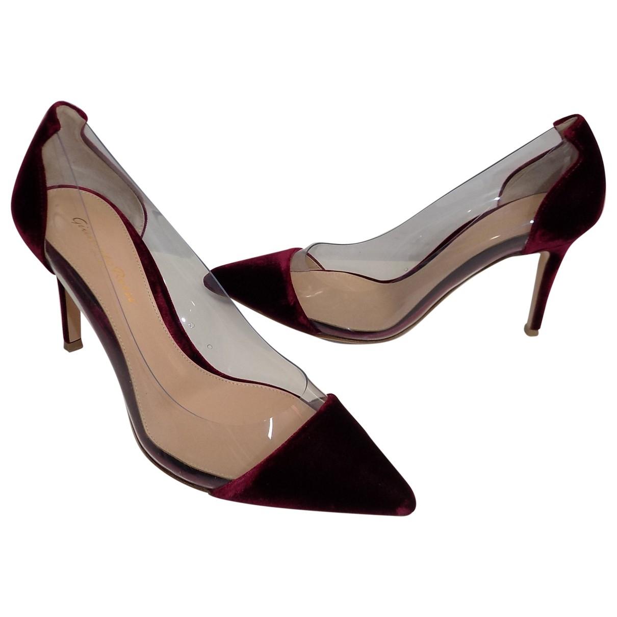 Gianvito Rossi Plexi Burgundy Velvet Heels for Women 37 IT