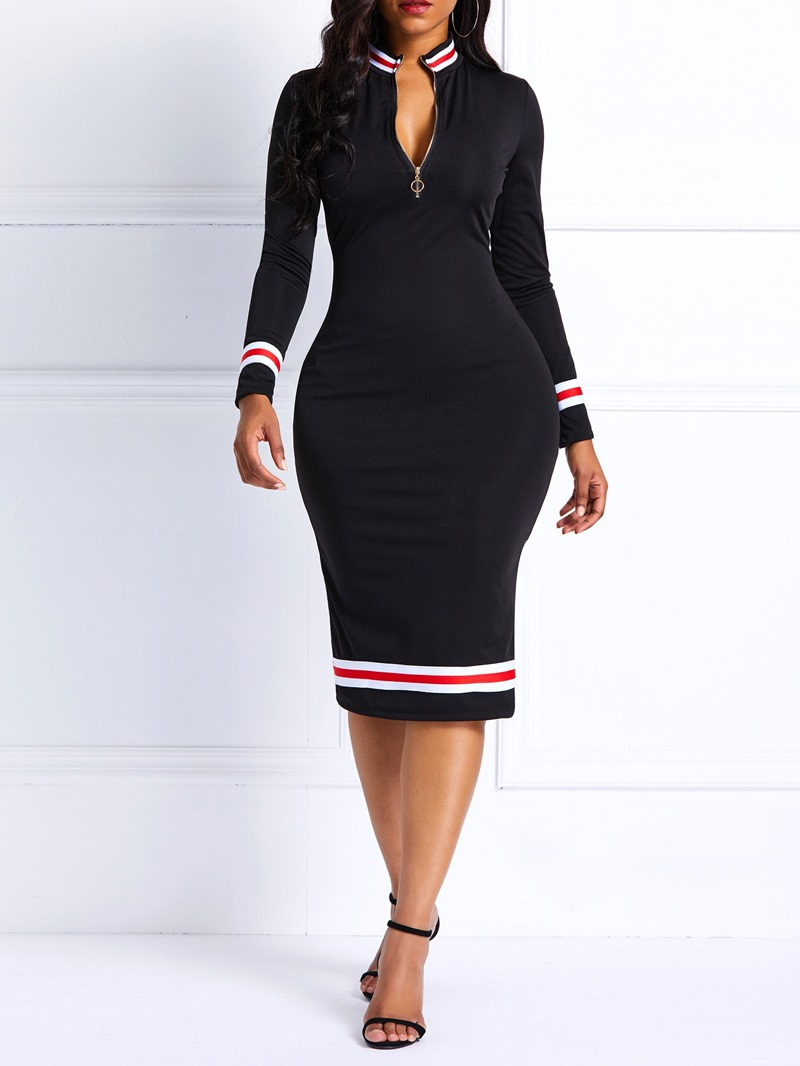 Ericdress Knee-Length Zipper Color Block Bodycon Dress
