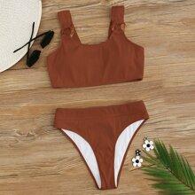 Gerippter Bikini Badeanzug mit Ring und hoher Taille