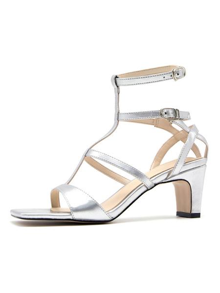 Milanoo Silver Gladiator Sandals Block Heel T-type Women\\s Shoes