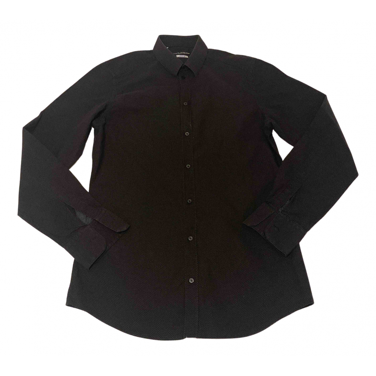 Dolce & Gabbana N Black Cotton Shirts for Men 41 EU (tour de cou / collar)