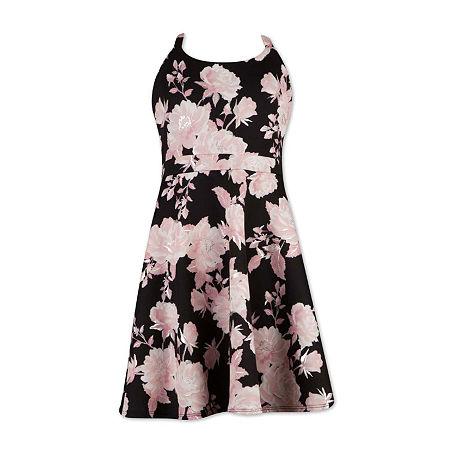 Speechless Big Girls Sleeveless Skater Dress, 7 , Black