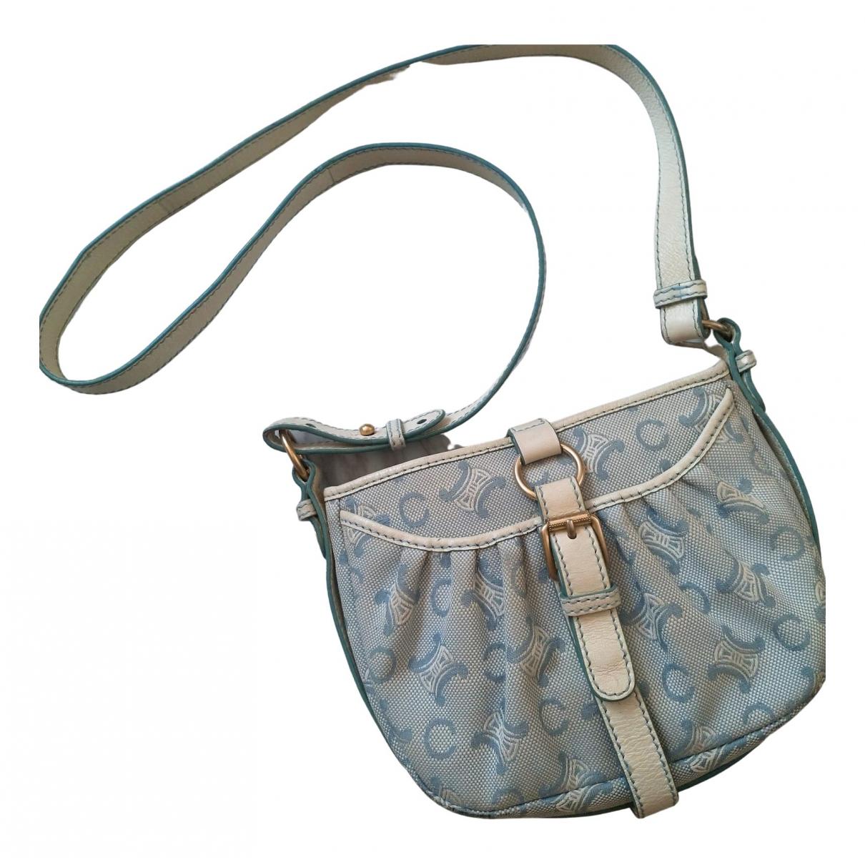 Celine Triomphe Vintage Handtasche in  Blau Leinen