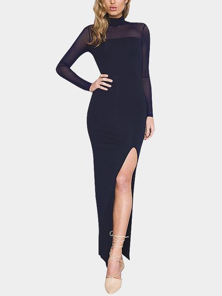 Yoins Navy Organza Round Neck Side Split Sexy Maxi Dress