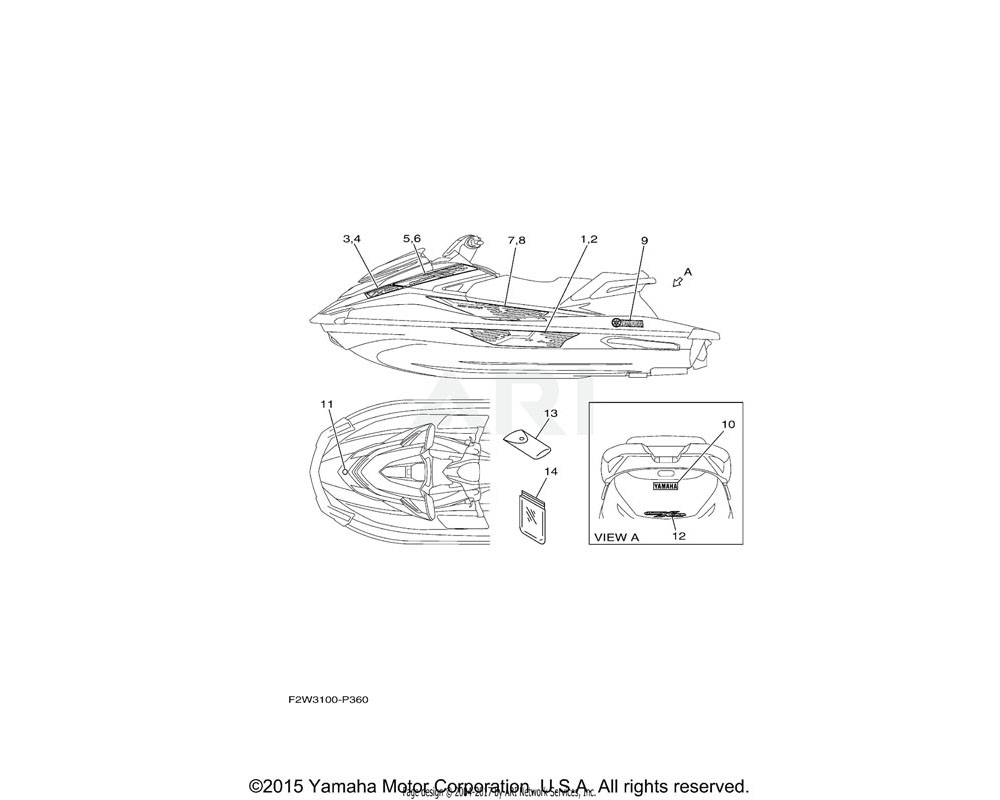 Yamaha OEM F2W-U417H-20-00 GRAPHIC 7 (LH)