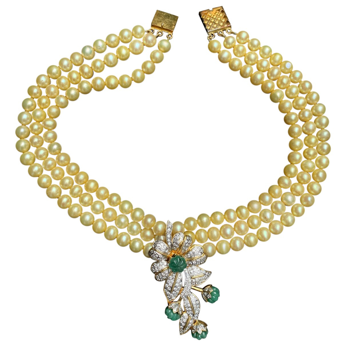 - Collier Motifs Floraux pour femme en perle - dore