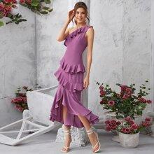 One Shoulder Layered Ruffle Trim Dress