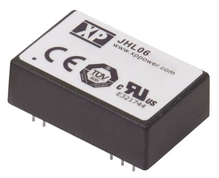 XP Power JHL06 6W Isolated DC-DC Converter Through Hole, Voltage in 10 → 17 V dc, Voltage out 5V dc Medical