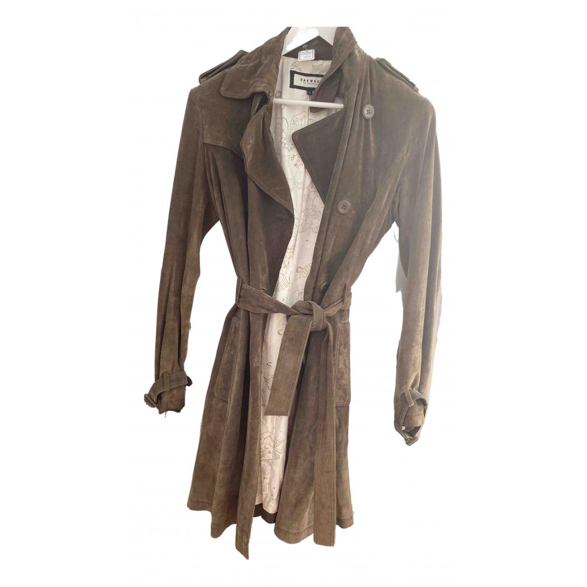 Oakwood - Manteau   pour femme en suede - gris