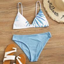 Dreieckiger Bikini Badeanzug mit Blatt Muster