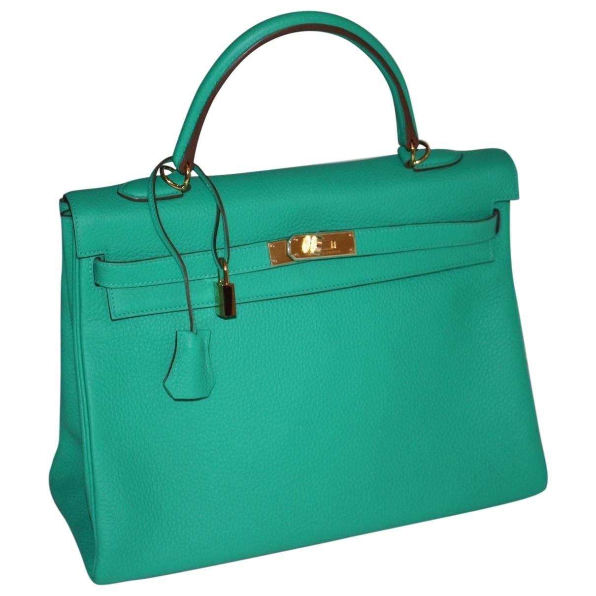 Hermes Kelly 35 Handtasche in  Gruen Leder
