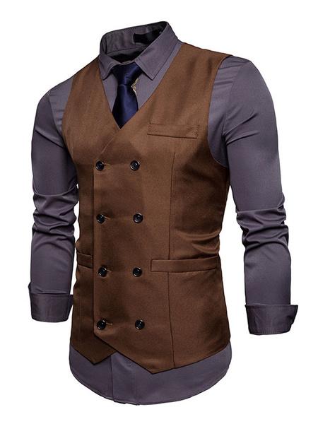 Milanoo Burgundy Waist Coat Men Vest Jacket V Neck Long Double Breasted Sleeveless Jacket