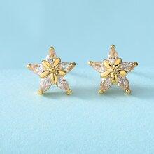 Gemstone Decor Star Stud Earrings
