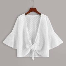 Plus Flounce Sleeve Tie Front Kimono