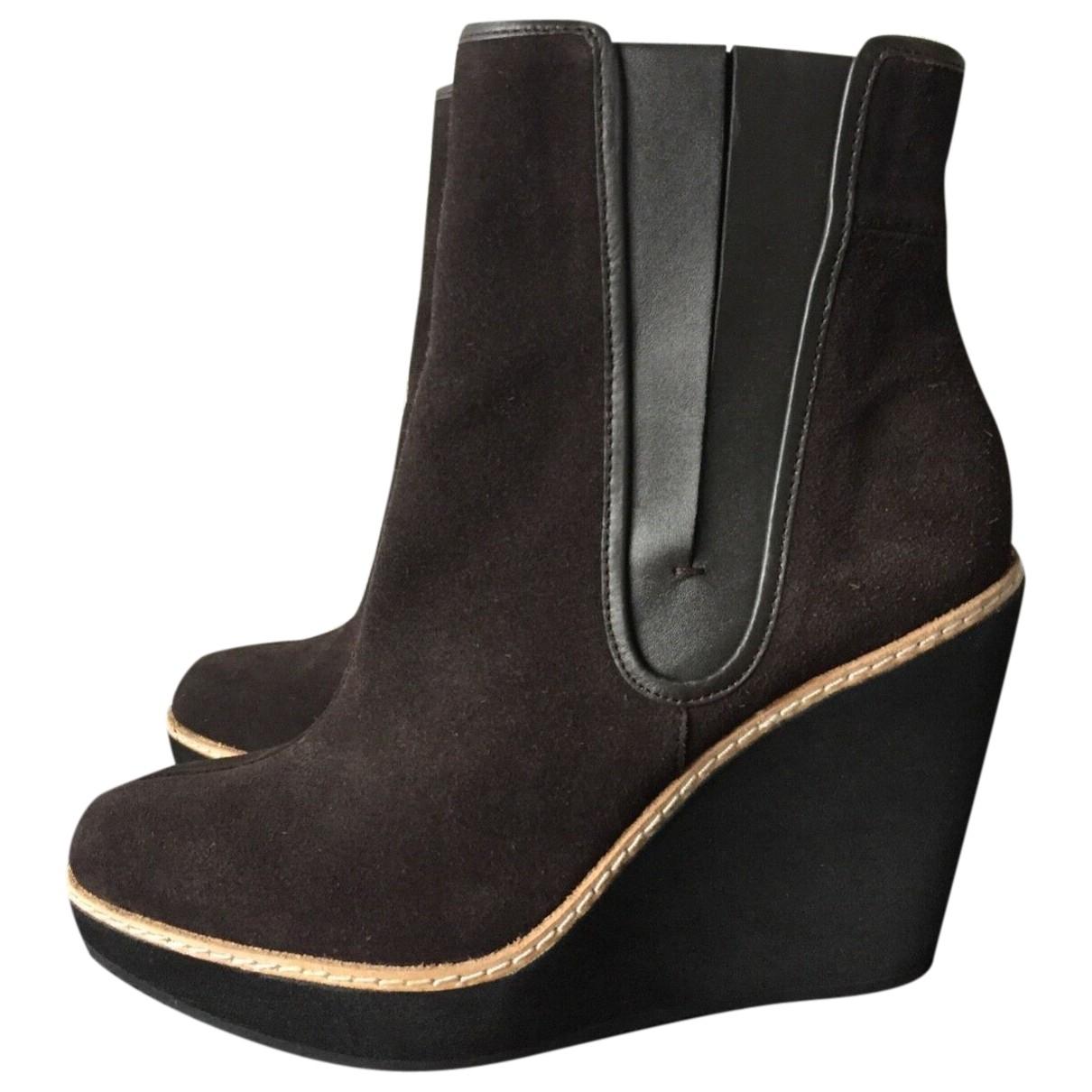 Calvin Klein - Boots   pour femme en suede - marron