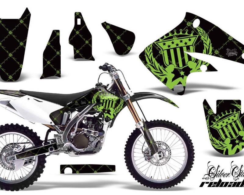 AMR Racing Dirt Bike Graphics Kit Decal Sticker Wrap For Kawasaki KX250F 2004-2005áRELOADED GREEN BLACK