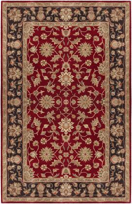 Crowne CRN-6013 6' x 9' Rectangle Traditional Rugs in Garnet  Black  Camel  Khaki  Clay  Charcoal  Dark Brown  Tan  Moss